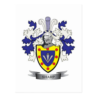 Sharp Family Crest Coat of Arms Postcard