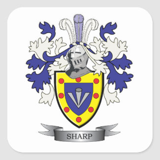 Sharp Family Crest Coat of Arms Square Sticker