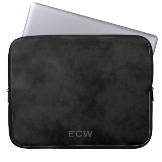 * Sharp Faux Stamped Mottled Black Laptop Sleeve