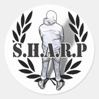 sharp skin standing classic round sticker