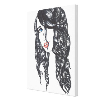 Sharpie Girl Stretched Canvas Print (Medium)