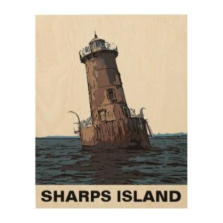 SHARPS ISLAND LIGHT WOOD PRINT