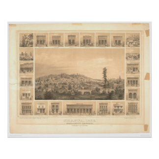 Shasta, CA. Panoramic Map 1856 (1612A) Poster