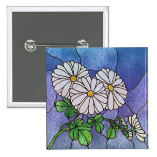 Shasta Daisies Stained Glass Look 15 Cm Square Badge