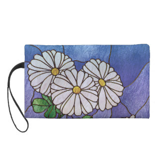Shasta Daisies Stained Glass Look Wristlet Purse