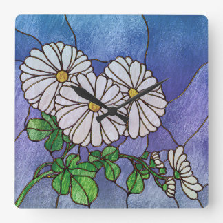 Shasta Daisies Stained Glass Look Wall Clock