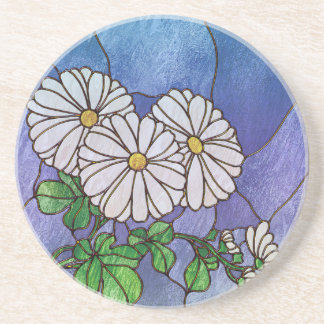 Shasta Daisies Stained Glass Look Coasters