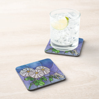 Shasta Daisies Stained Glass Look Beverage Coasters