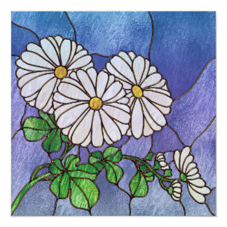 Shasta Daisies Stained Glass Look 13 Cm X 13 Cm Square Invitation Card