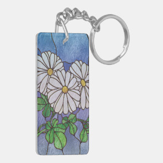 Shasta Daisies Stained Glass Look Double-Sided Rectangular Acrylic Key Ring