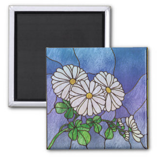 Shasta Daisies Stained Glass Look Refrigerator Magnets