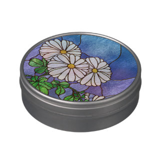 Shasta Daisies Stained Glass Look Jelly Belly Candy Tins