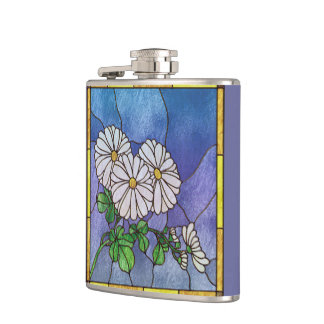 Shasta Daisies Stained Glass Look Hip Flasks