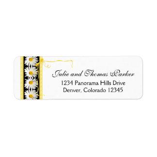 Shasta Daisy Black Gold Wedding Return Address Return Address Label