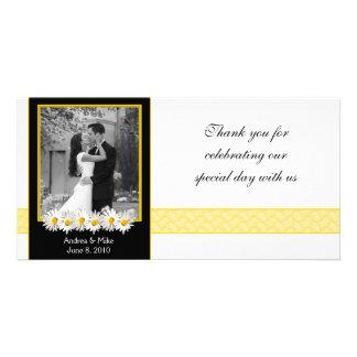 Shasta Daisy Black Gold Wedding Thank You Photo Cards