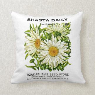 Shasta Daisy Vintage Seed Packet Cushion
