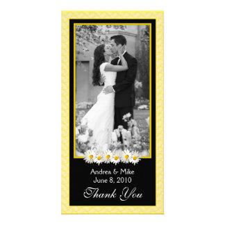 Shasta Daisy Yellow Black Wedding Thank You Personalized Photo Card