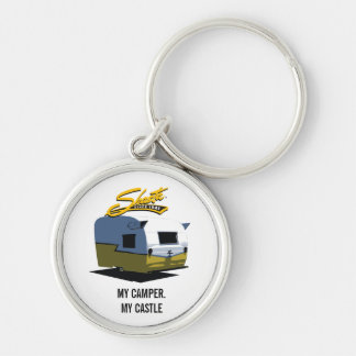 Shasta Vintage Camper - Yellow Silver-Colored Round Key Ring