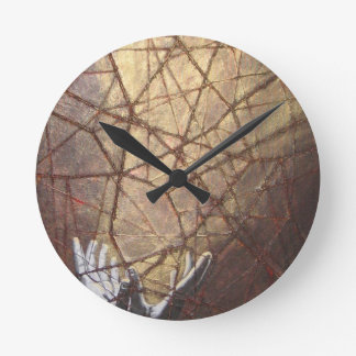 Shattered Glass and Sunlight Round Clock