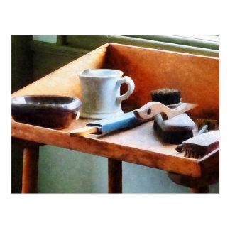 Shaving Mug, Razor and Brushes Postcard