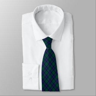 Shaw Clan Tartan Green and Royal Blue Plaid Tie