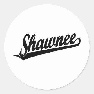 Shawnee script logo in black classic round sticker