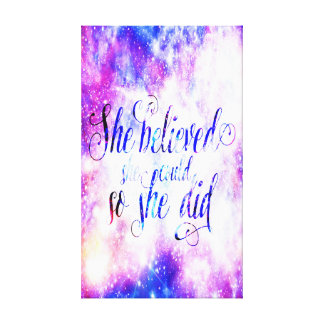 She Believed in Rainbow Universe Canvas Print