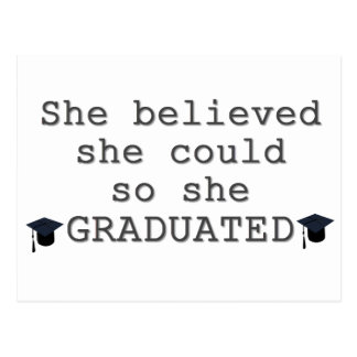 She Believed She Could Graduation Postcard