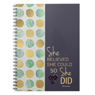 She Believed She Could (Polka-Purple Gold) Spiral Spiral Notebook