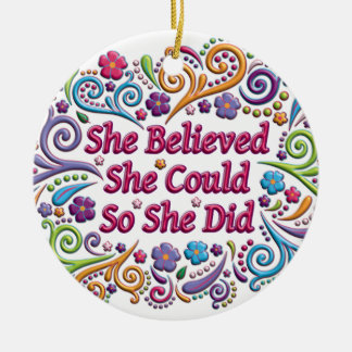 She Believed She Could Round Christmas Ornament
