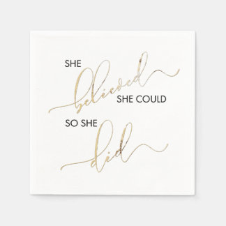 She Believed She Could So She Did Inspiring Quote Paper Napkins