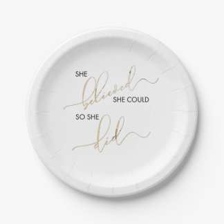 She Believed She Could So She Did Inspiring Quote Paper Plate