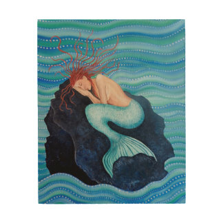 She Dreams Sea Dreams Mermaid Wood Wall Art Wood Canvas