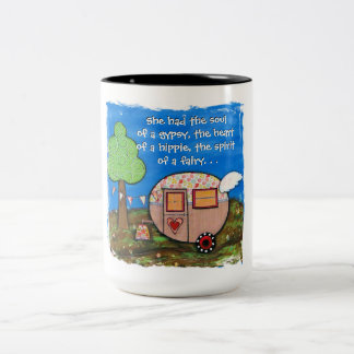 She had the soul of a gypsy, Gypsy Wagon, Camper Two-Tone Coffee Mug