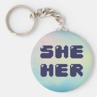 She Her Pronoun Keychain