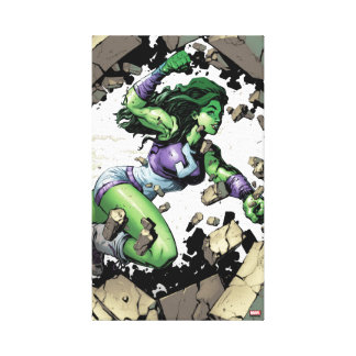 She-Hulk Smashing Through Blocks Canvas Print