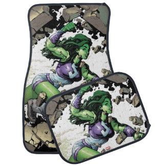 She-Hulk Smashing Through Blocks Car Mat