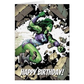She-Hulk Smashing Through Blocks Card