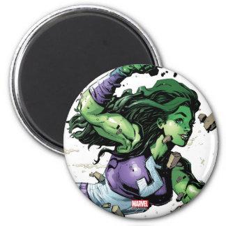 She-Hulk Smashing Through Blocks Magnet