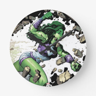 She-Hulk Smashing Through Blocks Round Clock