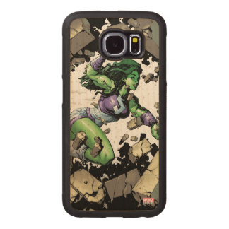 She-Hulk Smashing Through Blocks Wood Phone Case