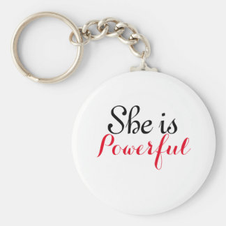 She is Powerful Basic Button KeyChain