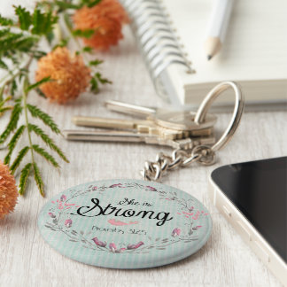 She is Strong Proverbs 31 Bible Verse Quote Basic Round Button Key Ring