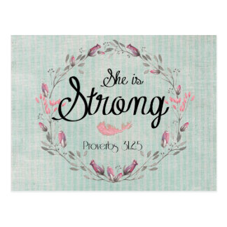 She is Strong Proverbs 31 Bible Verse Quote Postcard