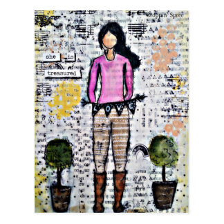 She is Treasured. Mixed Media Original Postcard
