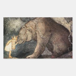 She Kissed the Bear's Nose Rectangular Sticker