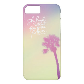 She Laughs Vintage Palm Sunset Proverbs 31:25 iPhone 7 Case