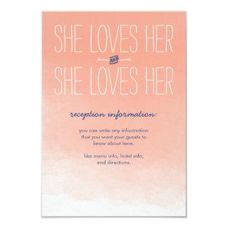 She Loves Her Lesbian Wedding Reception Card 9 Cm X 13 Cm Invitation Card