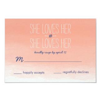 She Loves Her Lesbian Wedding RSVP Card 9 Cm X 13 Cm Invitation Card