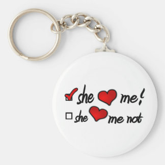 She Loves Me With Check Mark In Box & Hearts Basic Round Button Key Ring